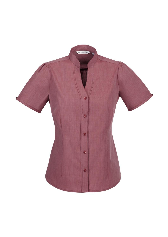 Ladies Chevron Stand Up Collar Fine Stripe Shirt The