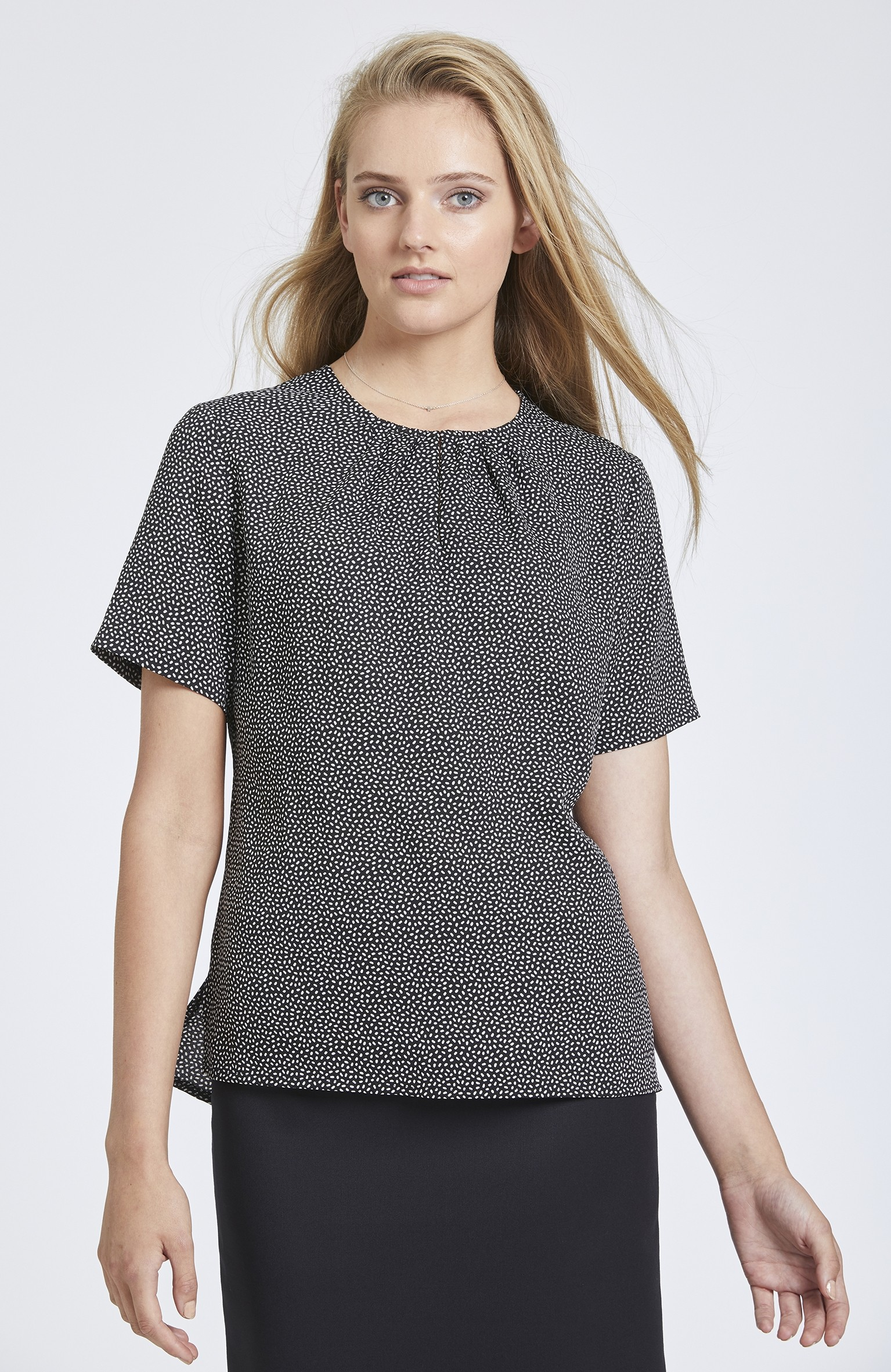 Speckle Print Collarless Top with Gathered Neckline