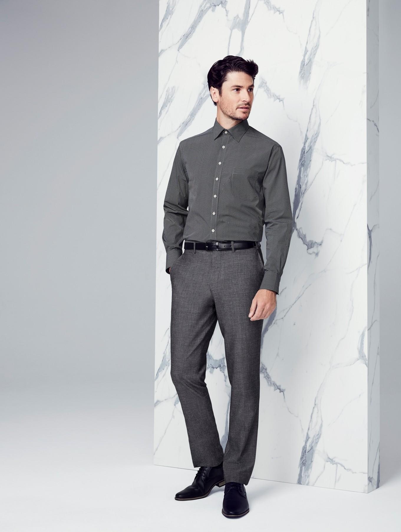Mens Rococo Slimline Leg Textured Grey Pant