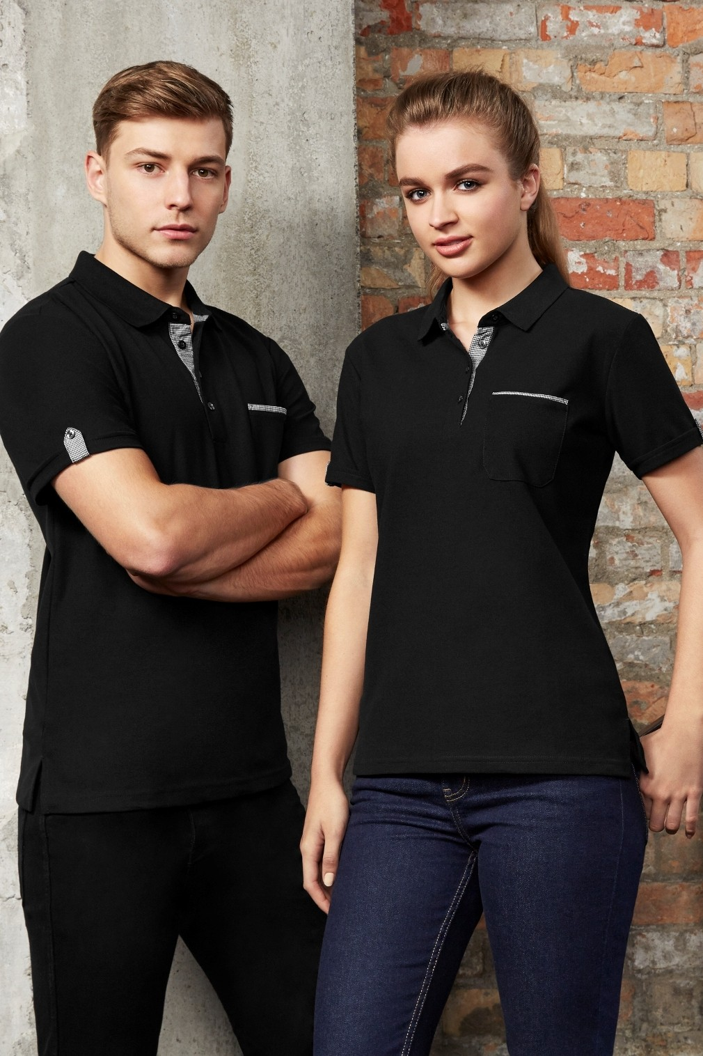 Ladies Edge Contrast Check Polo Shirt