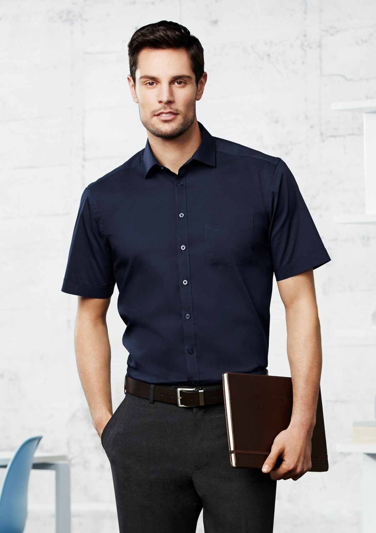 Mens monaco cotton stretch short sleeve shirt the for Mens short sleve dress shirts