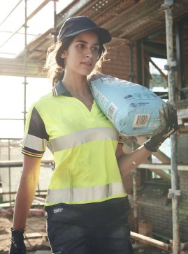 Women's Taped Two Tone Hi Vis V-Neck Short Sleeve Polo - Polyester