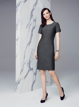 Rococo Short Sleeve Shift Dress Textured Grey Stretch