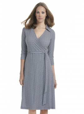 Wrap Dress with Collar in Petal Print
