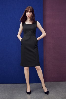 Ladies Sleeveless Side Zip Dress - Wool Stretch