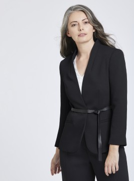 Collarless Jacket with Removable Tie