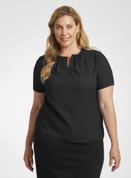 Black Collarless Top with Gathered Neckline