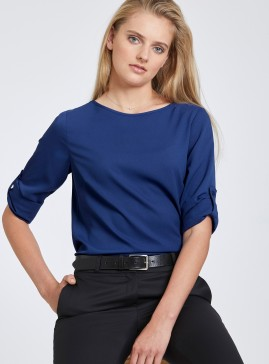 Scoop Neck Top with Long Roll-Up Sleeve