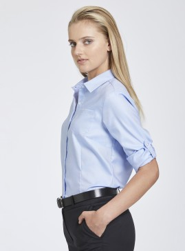 Blue Oxford Shirt with Roll-Up Sleeve