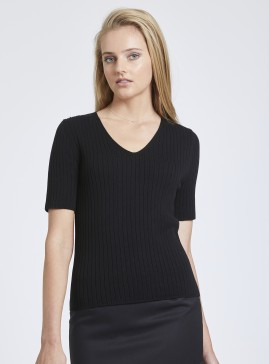 Black Rib V Neck Top