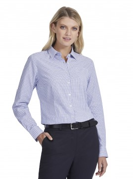 Women's Blue/White Double Check Shirt with Roll-Up Sleeve