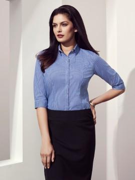 Ladies Newport 3/4 Sleeve Mini-Check Shirt