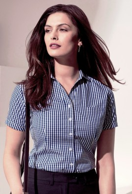 Ladies Springfield Short Sleeve 100% Cotton Check Shirt