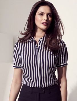 Ladies Verona Short Sleeve Wide Stripe Shirt