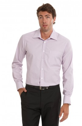 Lilac/White Baby Stripe Long Sleeve Tailored Shirt