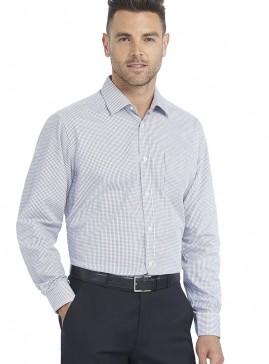 Men's Dark Grey/White Grid Check Tailored Shirt