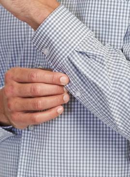 Men's Grey/White Gingham Check Tailored Shirt