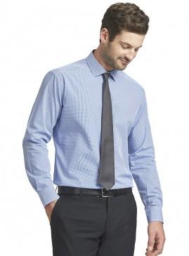 Men's Blue/White Mini Check Slim Shirt