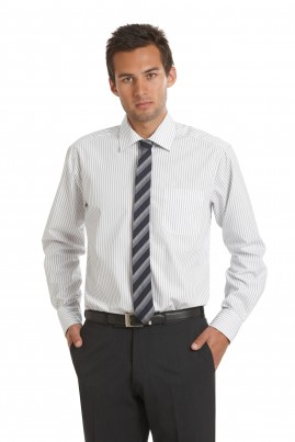 Black and White Stripe Long Sleeve Standard Fit Shirt