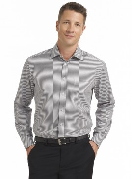 Grey/Black Stripe Long Sleeve Tailored Shirt