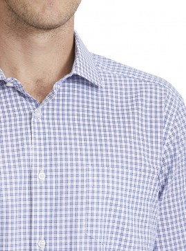 Men's Blue/White Double Check Tailored Shirt
