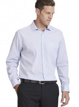 Men's Navy/Blue/White Mini Check Poplin Slim Shirt