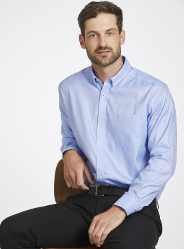 Men's Blue Oxford Casual Shirt with Button-Down Collar