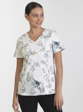 Panelled V-Neck Print Top with Pockets