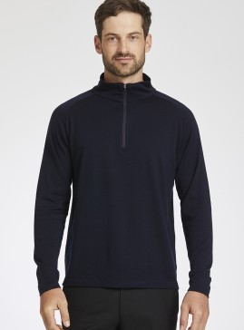 Men's Navy Merino Half Zip Jumper