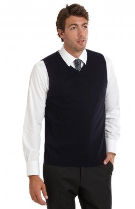 CLEARANCE - Men's Navy V Neck Merino Vest