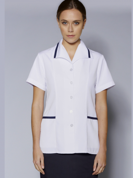 A97 Medical Tunic Top White with Navy Trim