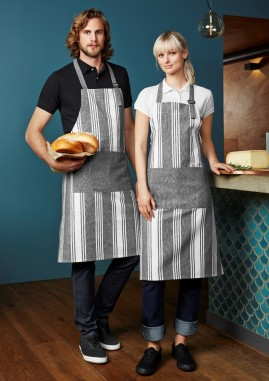 Salt Bib Apron - Salt and Pepper Chambray Stripe