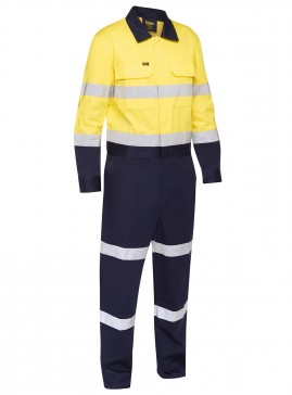 Taped Hi Vis Work Coverall With Waist Zip Opening