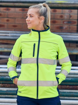 Women's Taped Two Tone Hi Vis Soft Shell Jacket