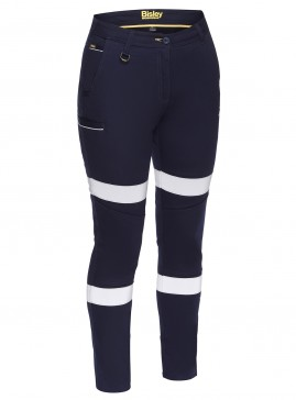 Women's Taped Mid Rise Stretch Cotton Pants