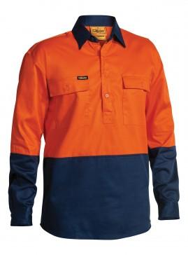 Hi Vis Closed Front Drill Long Sleeve Shirt