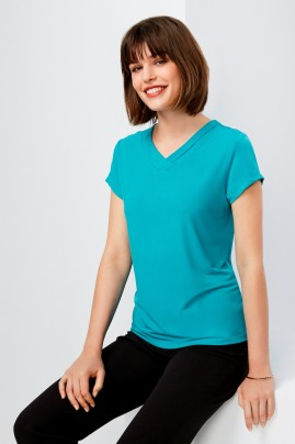 Lana V-neck Jersey Knit Short Sleeve Top