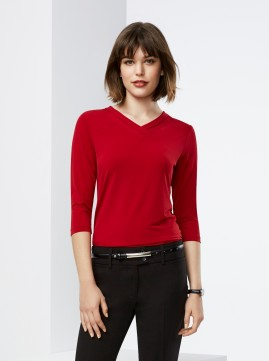 Lana V-Neck Jersey Knit 3/4 Sleeve T-Top
