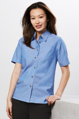 Ladies Short Sleeve Chambray Shirt