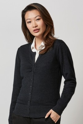 Ladies Merino Cardigan Black/Charcoal
