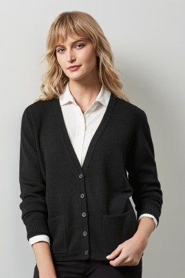 Ladies Woolmix Button Cardigan