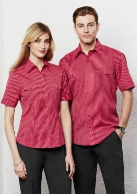 END OF LINE CLEARANCE - Ladies Short Sleeve Cuban Stripe Shirt