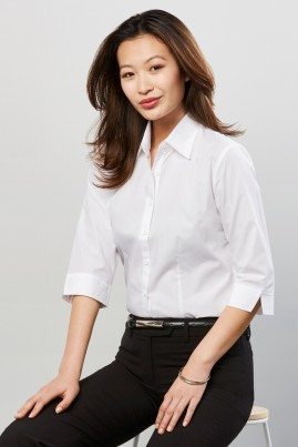 Ladies Base Poplin 3/4 Sleeve Shirt