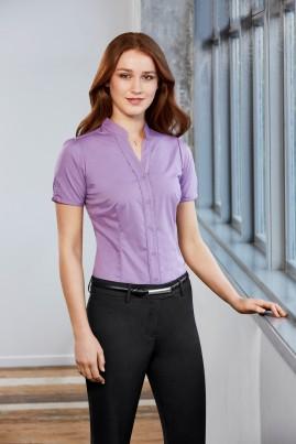 CLEARANCE - Ladies Chevron Stand Up Collar Fine Stripe Shirt