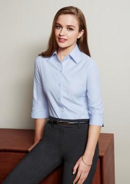 Ladies Ambassador Subtle Pinstripe 3/4 Sleeve Shirt