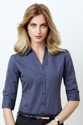 Ladies Trend Pin-dot Pattern 3/4 Sleeve Shirt