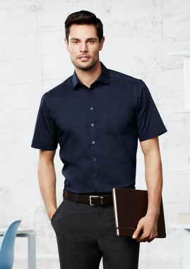 Mens Monaco French Style Cotton Stretch Short Sleeve Shirt