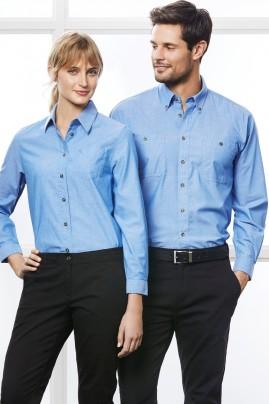 Mens Long Sleeve Chambray Shirt