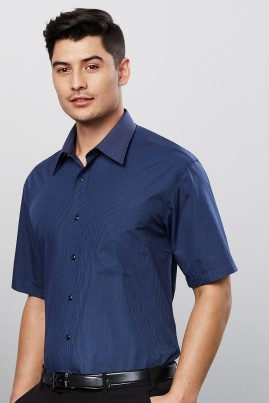 Mens Short Sleeve  Micro Check Shirt