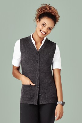Women's BIZcare Button Front Sleeveless Vest